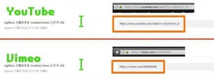 Lightboxで表示する動画のURL